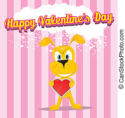 vector cute cartoon dog holding heart.