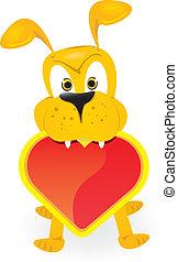 vector cute cartoon dog holding heart.