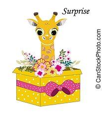 vector cute cartoon giraffe. Vector illustration.