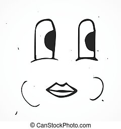 Vector cute cartoon happy face, hand drawn