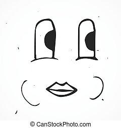 Vector cute cartoon happy face, hand drawn