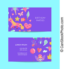 Vector cute cartoon magic and fairytale business card -...