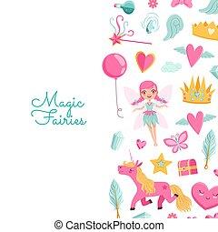 Vector cute cartoon magic and fairytale elements background
