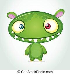 Vector cute cartoon monster alien
