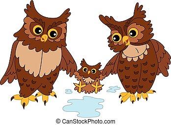 Vector Cute Cartoon Owls