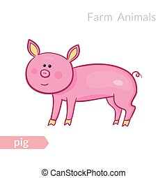Vector cute cartoon pink pig isolated background in doodle style