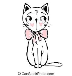 Vector cute cat illustration. Hand drawn Stylish kitten. Doodle Kitty.