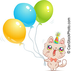 Cute cat with balloons.