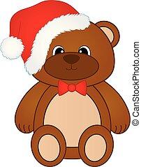 Vector cute Christmas teddy bear with red bow and Santa hat. Christmas teddy bear vector illustration