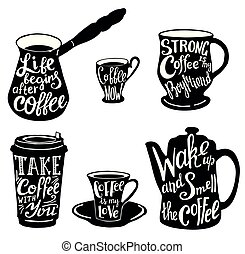 Marvelous ... Vector Cute Coffee Quotes And Sayings Typography Set  .