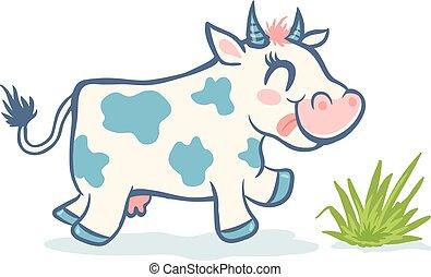 Vector cute cow in kawaii style
