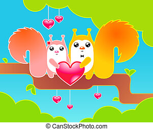 Vector cute critters coloful illustration