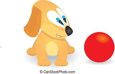 vector Cute dog playing with red ball