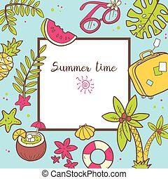 Vector cute doodle background Summer time. Square frame with pal