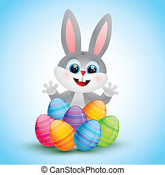 easter bunny - vector cute easter bunny illustration