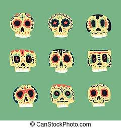 Vector cute ethnic Mexican skulls icons