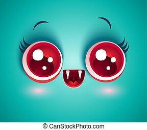 Evil Halloween Bat Vampire Emoji Emoticon Vector Illustration