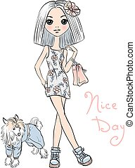 Vector cute fashion girl with dog - Cute beautiful girl in...