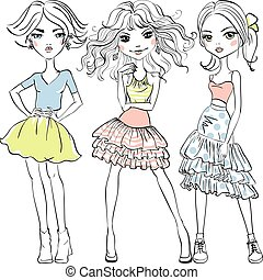 Vector cute fashion girls in t-shirts and skirts