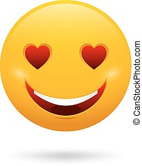 Vector cute feeling in love emoticon isolated on white background.