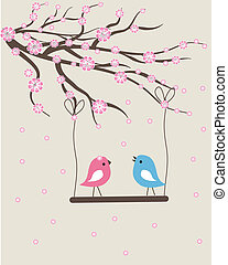 Vector cute floral spring birds illustration