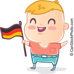Cute kid with flag of Germany