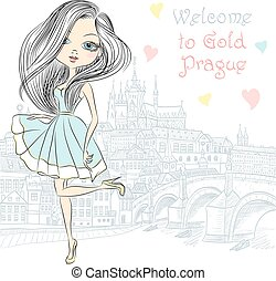 Vector cute girl in Prague - Cute beautiful fashionable girl...