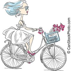 Vector cute girl rides a bicycle - Cute beautiful...