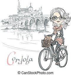 Vector cute girl rides a bicycle in Cordoba