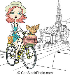Vector cute girl with dog on the bike in Amsterdam - Cute...