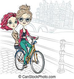 Vector cute girls on the bike