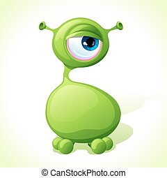 Vector cute green monster isolated on white background.