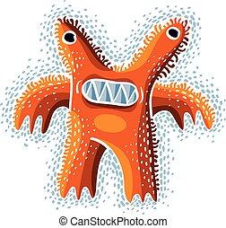 Vector cute Halloween character ogre, fictitious crazy creature. Cool illustration of freak orange monster.