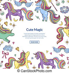 Vector cute hand drawn magic unicorns and stars background