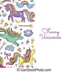 Vector cute hand drawn magic unicorns and stars background with place for text illustration