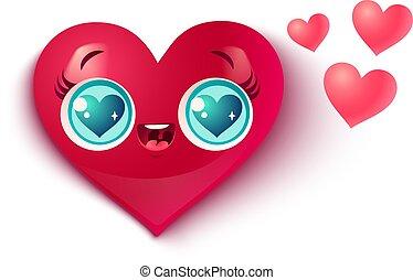 Cute heart in kawaii style