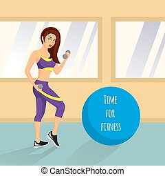 Vector Cute illustration of a woman exercising with dumbbells in the gym