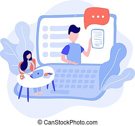 Vector cute illustration of woman with a laptop sits at a table and watches a presentation. Work at home online, freelancer. Home education in flat style