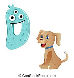 Vector cute kids cartoon alphabet. Letter D with dog isolated on the white background. Flat style. Vector illustration