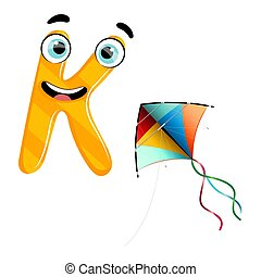 Vector cute kids cartoon alphabet. Letter K with kite isolated on the white background. Flat style. Vector illustration