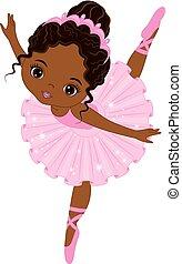 Vector Cute Little African American Ballerina Dancing - ...