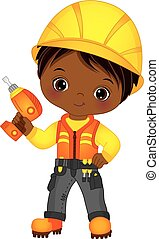 Vector Cute Little African American Boy Drilling