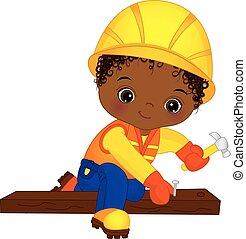 Vector Cute Little African American Boy Hammering Nails -...