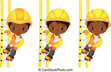 Vector Cute Little African American Boys Climbing Up the...