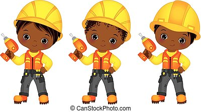 Vector Cute Little African American Boys Drilling
