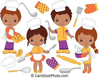 Vector Cute Little African American Chefs