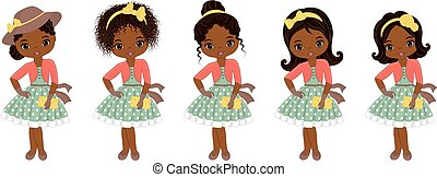 Vector Cute Little African American Girls in Retro Style