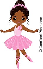 Vector Cute Little African American Ballerina Dancing