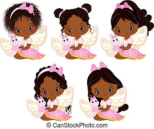 Vector Cute Little African American Fairies with Various Hairstyles