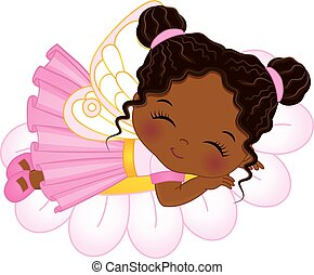 Vector Cute Little African American Fairy Sleeping on Flower